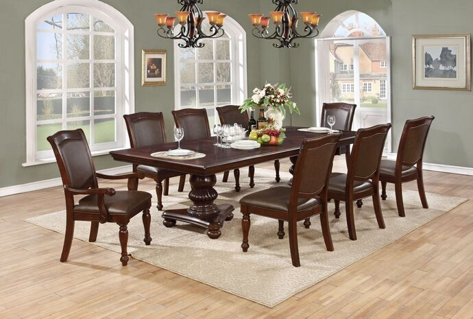 Best Quality D30 7 Pc Ritz Cherry Finish Wood Double Pedestal Dining Table Set Dining Table Pedestal Dining Table Double Pedestal Dining Table