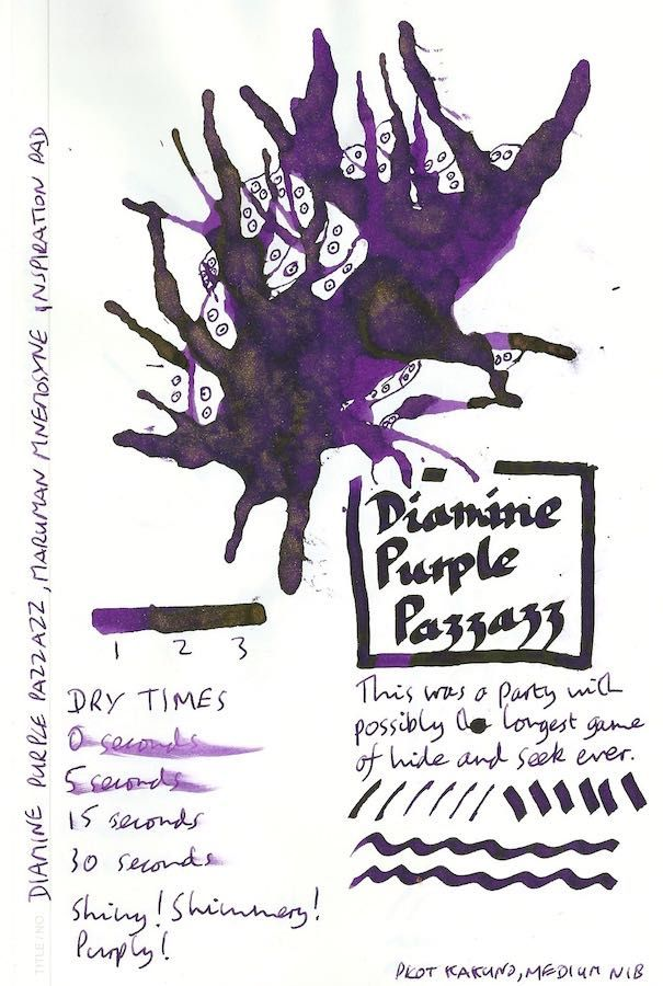 This is a test sheet for the Diamine Shimmertastic fountain pen ink in Purple Pazzazz. Wow! Click through for the full review.