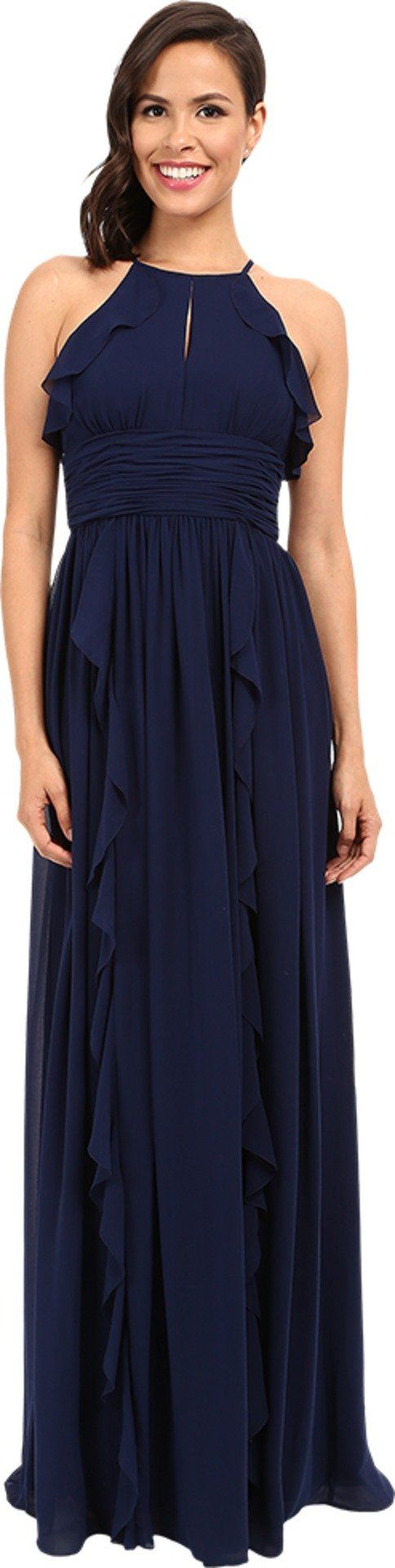 Donna Morgan Women's Skye Cutaway Halter Gown Midnight Dress