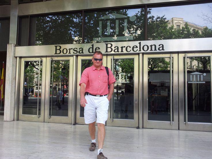 Author leaving local stock exchange in Barcelona