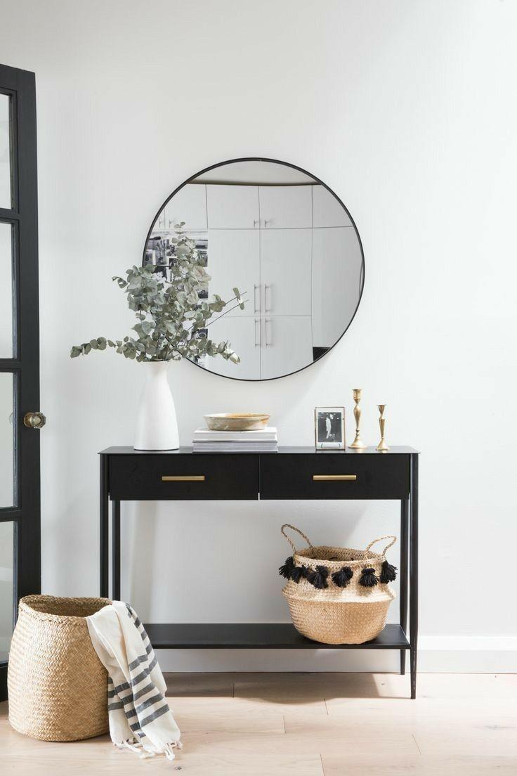 Entry Or Stair Nook Ideas Round Mirror Hallway Decor Minimal
