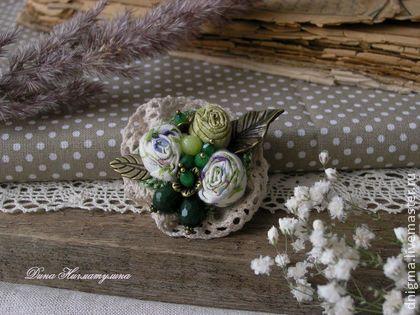 Брошь Полевые цветы - зеленый,салатовый,белый,бронзовый,бежевый,летнее украшение