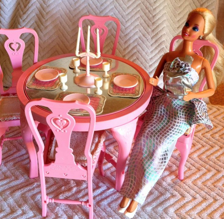 Vintage Barbie's 1987 Dinning Room Set, Part of her Sweet Roses Collection