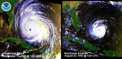 Andrew-Floyd.jpg. Visual comparison of Hurricane Floyd and Hurricane Andrew. The two storms are at similar positions and nearly identical intensities (933 mbar), but Hurricane Floyd is remarkably larger. In 1999 at the time of Floyd, it was believed that the wind speeds of the hurricanes were nearly identical as well, at 120 knots (140 mph, 220 km/h). In 2002, however, hurricane re-analysis concluded that Andrew had stronger winds than had previously been thought, and in the picture the…