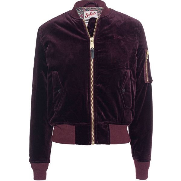 101537151c69 Schott NYC Bomber Velvet Burgundy // Slim-fit bomber jacket in velvet.