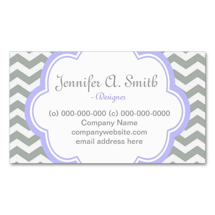 Trendy elegant grey purple chevron double sided standard business trendy elegant grey purple chevron double sided standard business cards pack of 100 this is a fully customizable business card and available o colourmoves Gallery