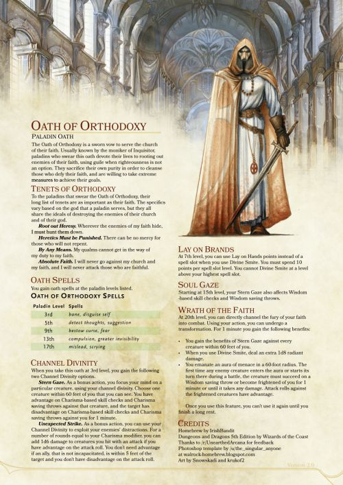 dnd-5e-homebrew: Oath of Orthodoxy Paladin by IrishBandit I like the idea of this one!