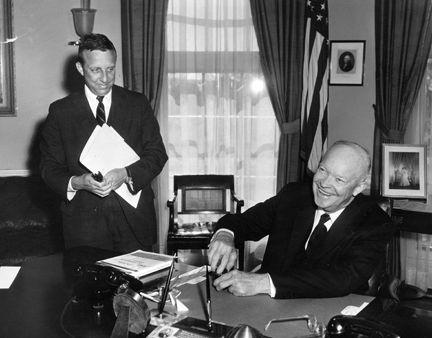 President Eisenhower signing the The Hawaii Statehood Bill. 3/18/59.