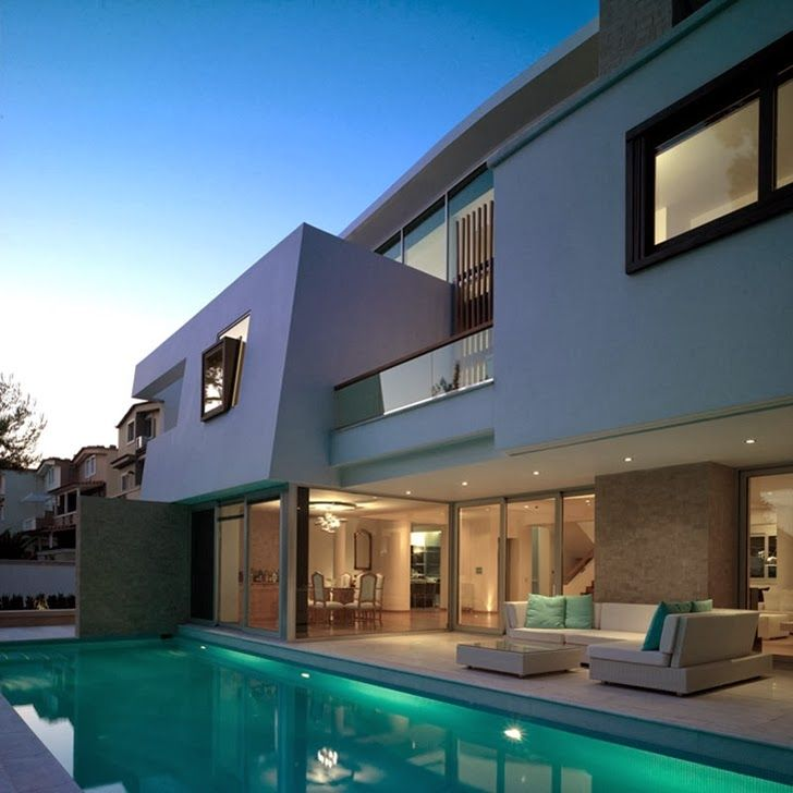Architecture, Elegant Contemporary Houses Of Ekali Project By Architect  Thanos Athanasopoulos Featuring Exterior Design With Pool Landscaping,  Marble Floor ...