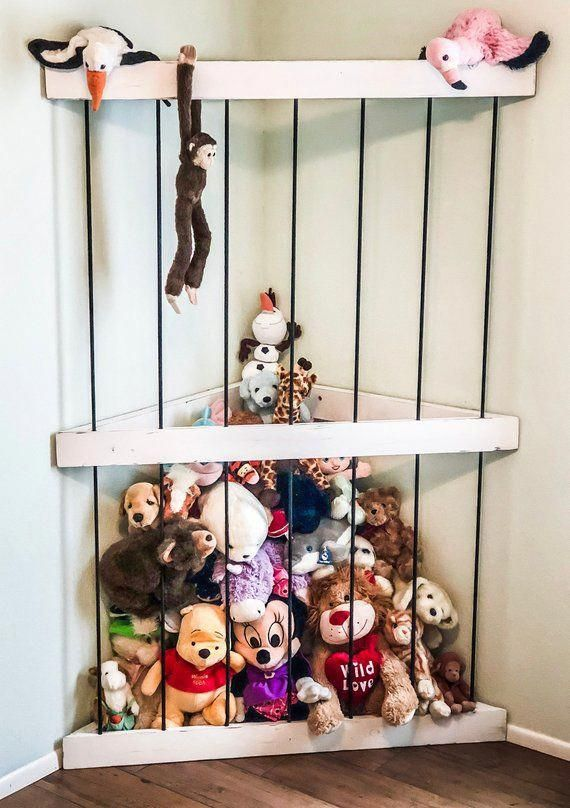 Floating Toy Storage A Handmade Floating Corner Storage Option For Your Stuffed Animal Collectio In 2020 Storage Kids Room Stuffed Animal Storage Animal Room