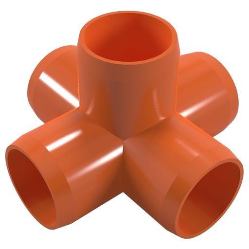 "1-1/4"" 5-Way PVC Furniture Grade Fitting (Orange) - Side Outlet Cross - Pipeworks"