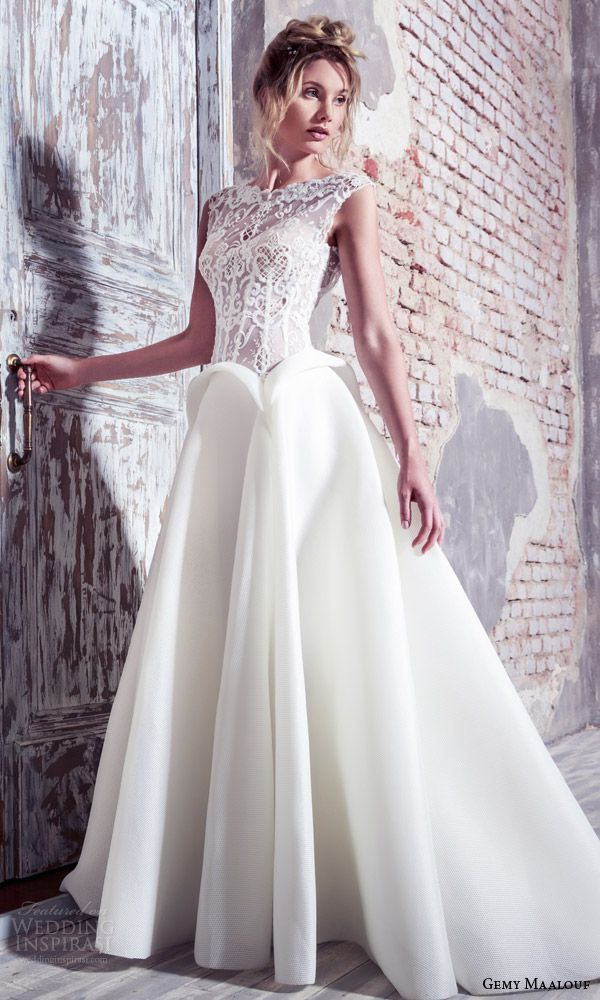 GEMY MAALOUF #bridal 2016 unconventional cap sleeve lace bodice ball gown #wedding dress peplum