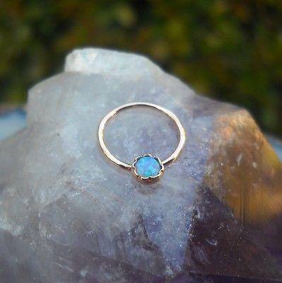 Septum Ring - Nose Ring -Septum Piercing 14K Rose Gold Filled 3mm Blue Opal