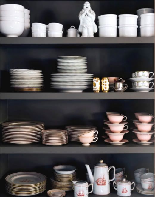 open shelving love  ...adore this though the grey is a bit too dark for me...I am looking for open-shelving / de-cluttering inspiration for my breakfast room which is just about to get a facelift with a can of paint...everything staying matching like this is a bit unrealistic though in my house...too much vintage treasure hunting going on ;-)