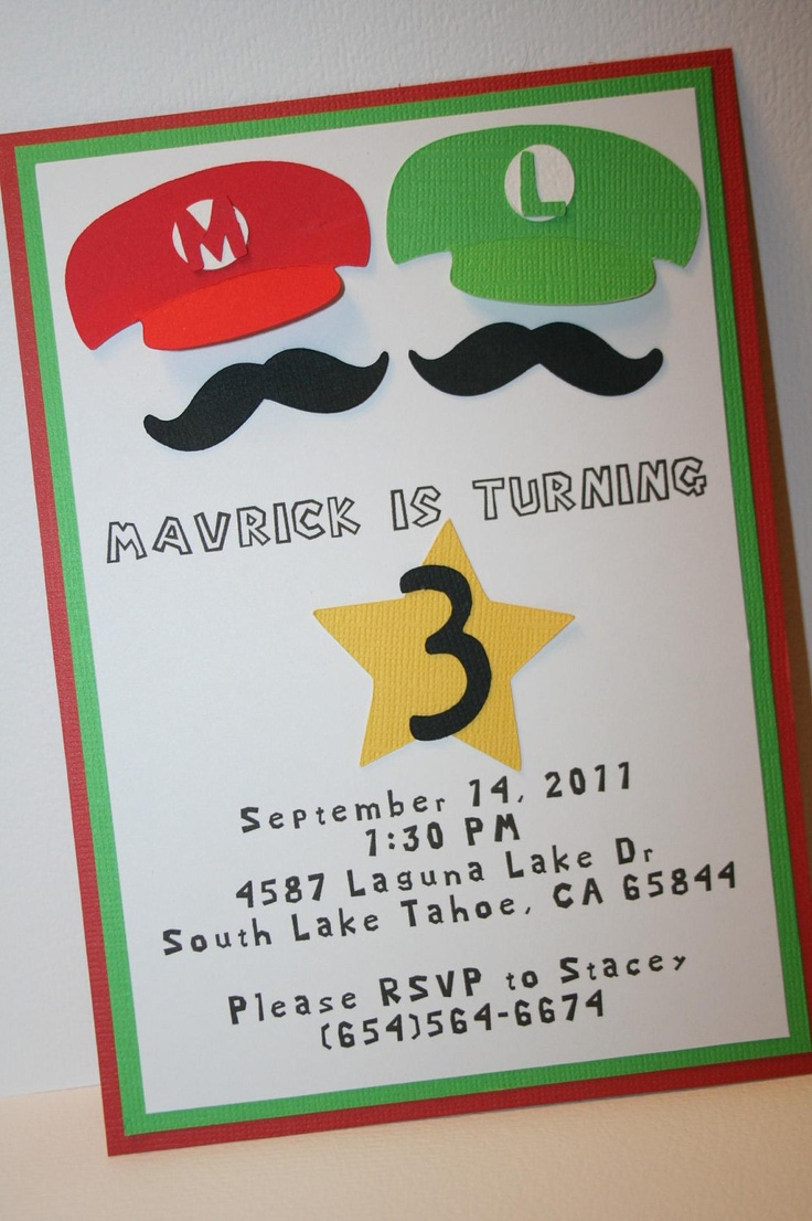 Mario Birthday Party Invitations with great invitations template