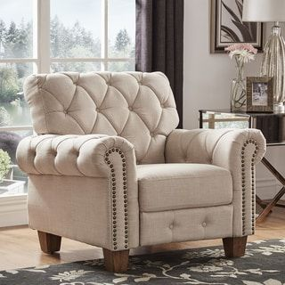 Shop for Greenwich Tufted Beige Linen Chesterfield Recliner by iNSPIRE Q Artisan. Get free delivery at Overstock.com - Your Online Furniture Shop! Get 5% in rewards with Club O! - 24752544