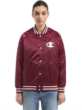New Champion Logo Detail Padded Nylon Bomber Jacket fashion online. [$187]wooclo top<<