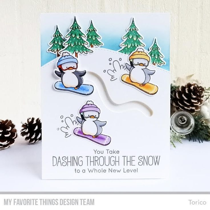 These Snowboarding Penguins Are Totally Dashing Through The Snow In This Fun Christmas Card Desig Christmas Card Design Christmas Cards Handmade Embossed Cards