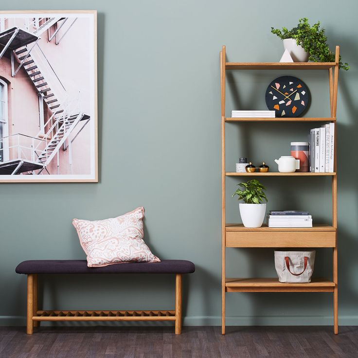 Sage is the new Black! We love open storage solutions for displaying all of our favourite things! Our Whywood Shelves are just the right size, pair with our Whywood bench for an easy entryway that works a little harder. #timberfurniture #scandistyle #green #pink #functionalinteriors #storage #interiorstyling #hallway #bench #shelfiestyling