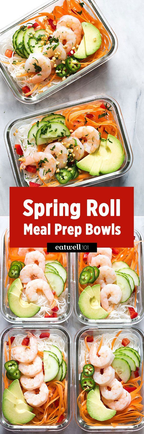 Spring Roll Meal Prep Bowls - No time for a full meal prep? No matter how busy life gets, these make-ahead Spring Roll Meal Prep Bowls are easy to put together and filling enough to pass for a regular meal!