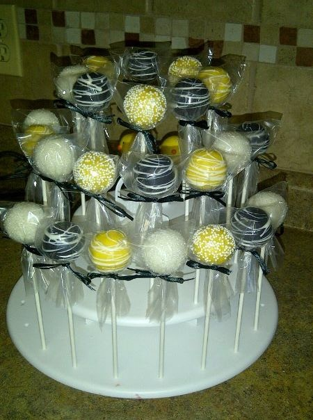 Black, White and Yellow Cake pops