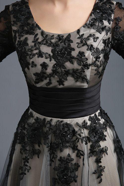 Бесплатная доставка в реальном сексуальный вечернее платье Черные кружева…