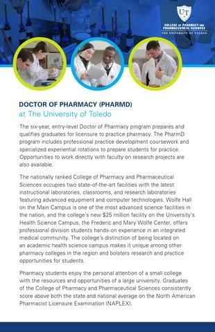Doctor of Pharmacy program at The University of Toledo College of Pharmacy and Pharmaceutical Sciences