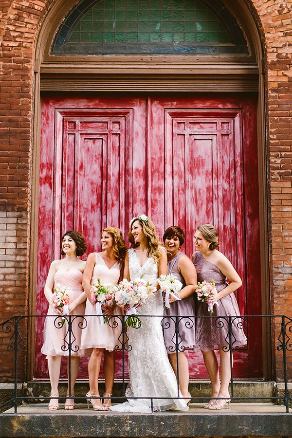 blush + plum bridesmaids dresses from BHLDN |Mix and Match Bridesmaids to Look Gorgeous | http://www.itakeyou.co.uk/wedding/mix-and-match-bridesmaids #bridesmaids