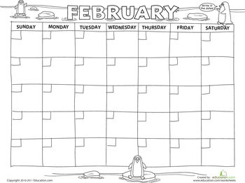 Worksheets: Create a Calendar: February