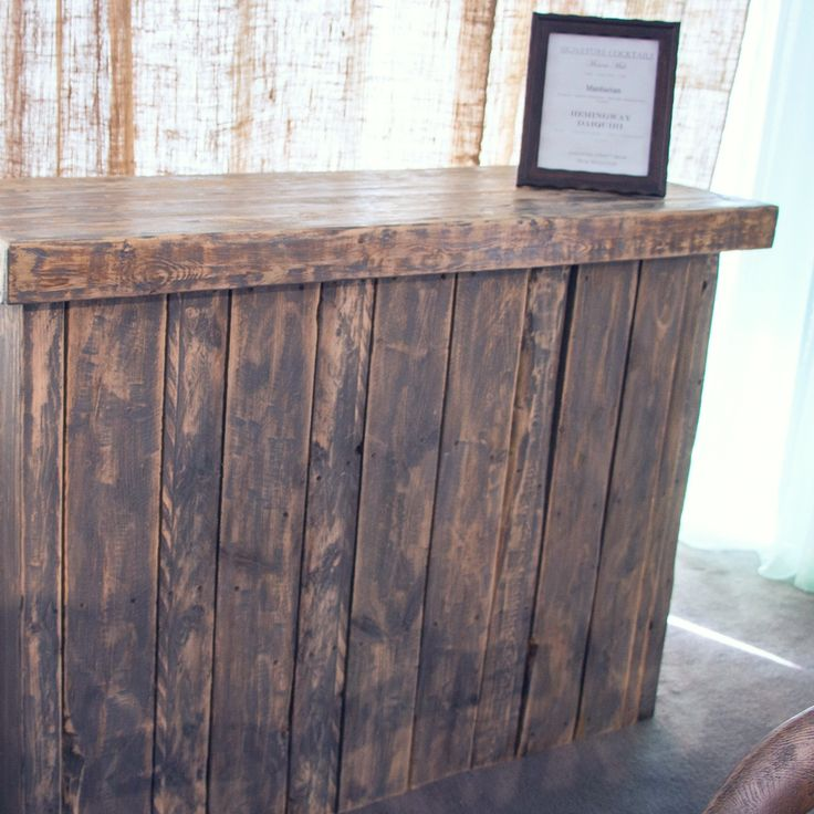 Our newest addition to our Rustic Collection. This beautiful reclaimed wood bar is perfect for any rustic event.