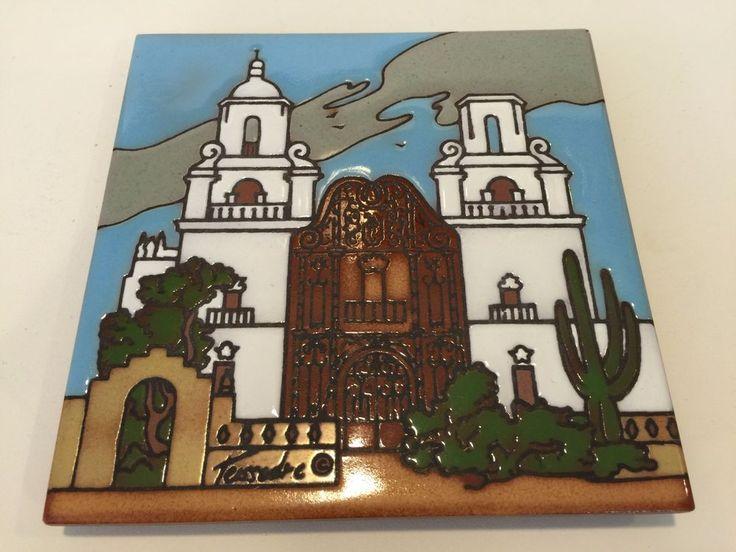 "Cleo Teissedre Southwestern Mission Cactus Wall Decor Tile Art Trivet, 5 3/4"" D #Teissedre"