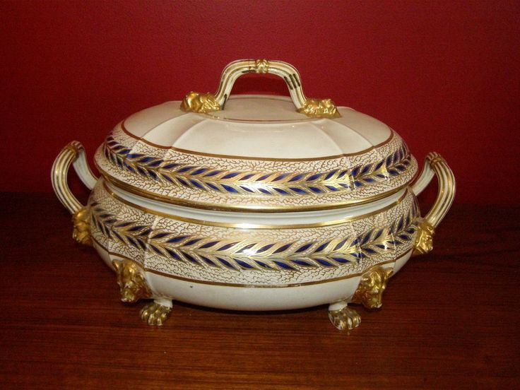 Antique Derby Large Covered Tureen w/ Lion Head Masks & Paw Feet 1806-25