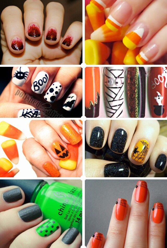 Halloween nails omg so cute! The white ones and the candy corn ones are adoooorable