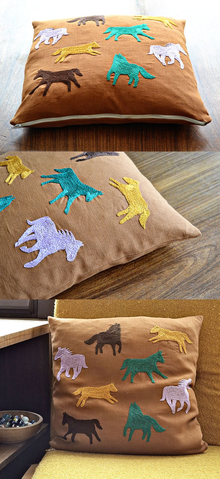 horse cushion cover embroidery pattern - rustic home decor