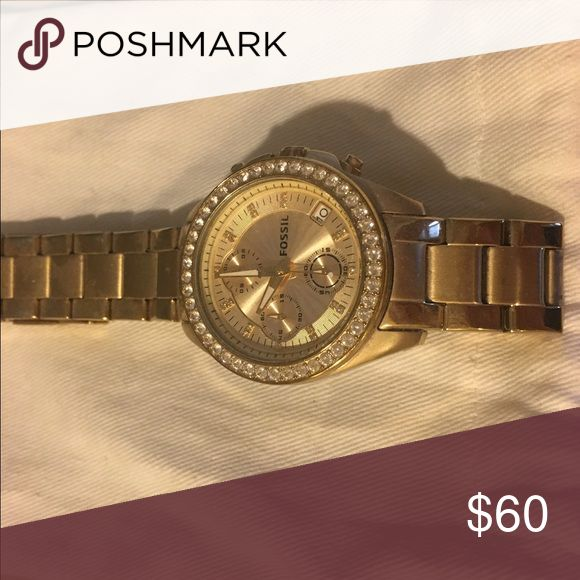 Fossil gold watch Fossil watch. Comes with additional links. Will need replacement battery. Fossil Accessories Watches