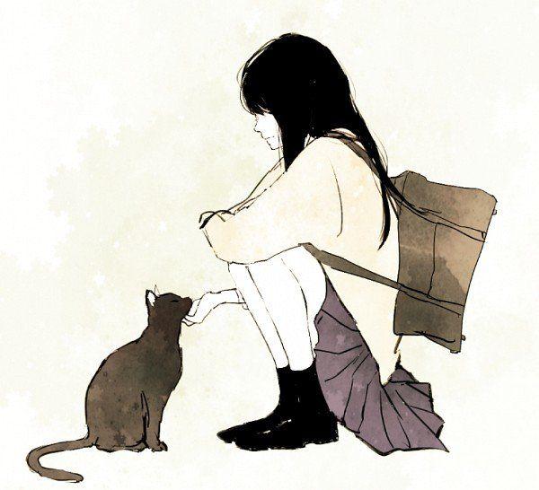 Картинки рисованные девушка с котом