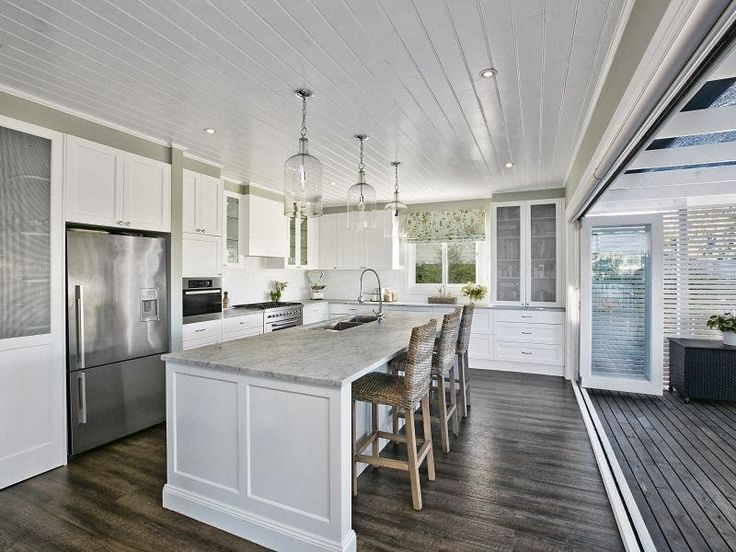 Hamptons kitchen - your kitchen won't look like this because you have the servery window which is more practical. can you imagine the flies coming into the kitchen?