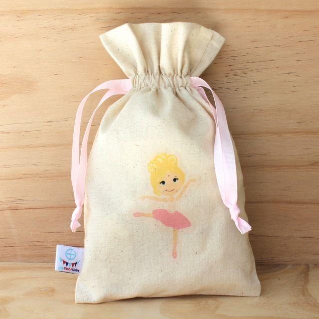 Ballerina Calico Drawstring Bag