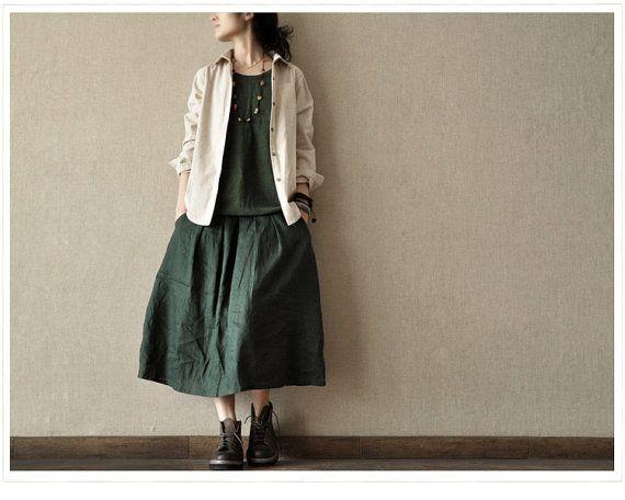 Linen Peter Pan Long Shirt Blouse for Women  - Rice White -Long Sleeved Women Spring Dress (R)