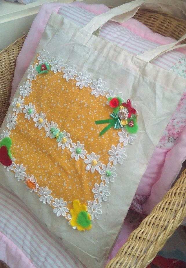 SALE Fabric Bag, Shabby Chic Tote Bag, Craft Bag, My Second Give Away Bargin £7.95