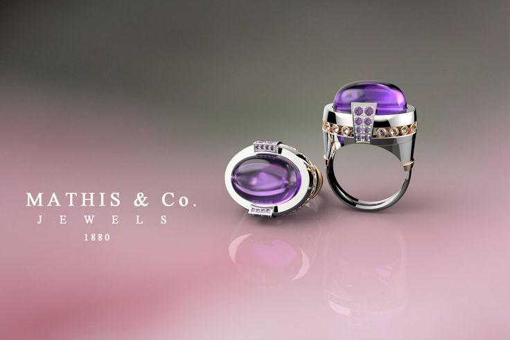 Ring in 18kt Gold, Amethyst, Diamonds