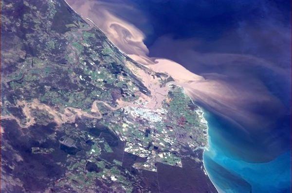2013 Bundaberg floods taken from international space station