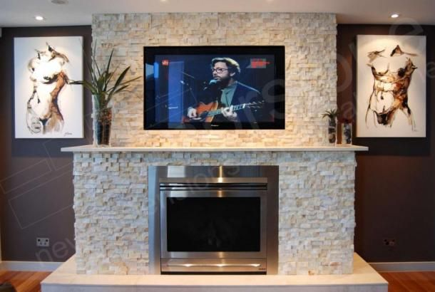 Ivory Stacked Stone Fireplace Wall Happening My Neighbor Is A Mason Contractor And Sold Me On