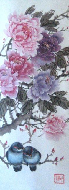 Рисунок - Китайская живопись - Се-И - Пион и птички. Нажмите на изображение, для того, чтобы посмотреть изображение в максимальном размере