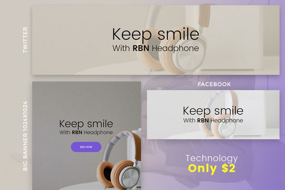 Technology Banner One  CreativeWork247 – Fonts, Graphics, Themes, Templates