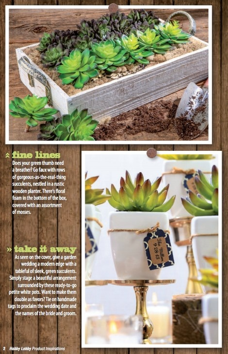 Does your green thumb need a breather  Go faux with rows of gorgeous as the real thing succulents  nestled in a rustic wooden planter