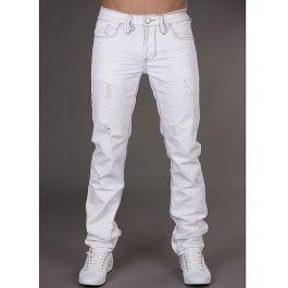 Hvite Jeans med Grå Sømmer