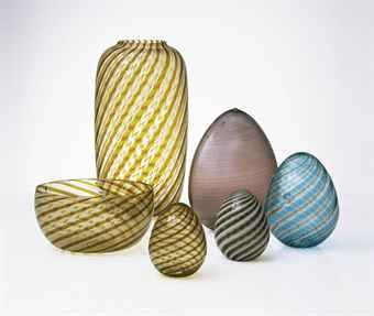 Venini.  Vase and yellow egg, 1981.  Bowl, 1980.  Larger egg and blue egg, 1979.