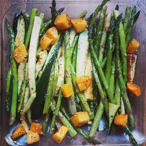 The best roasted vegetables I've ever had! Bake asparagus, butternut squash, and zucchini at 415 degrees for 20 minutes