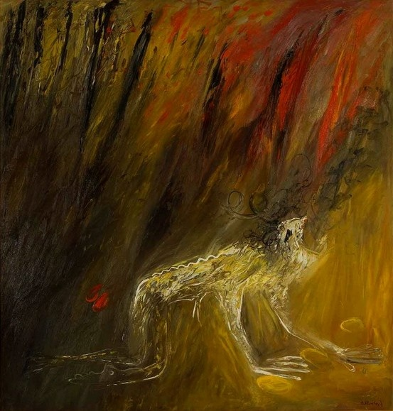 Arthur Boyd - Nebuchadnezzar in a fire, 1969, oil on canvas